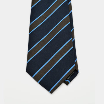 Navy & Brown Stripe Irish Poplin Tie
