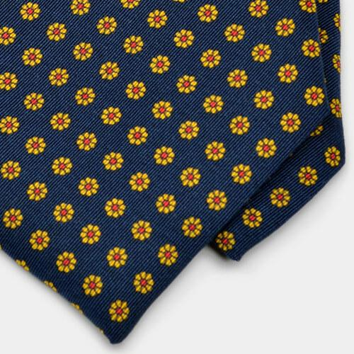 Close up detail of navy floral neat Irish Poplin tie