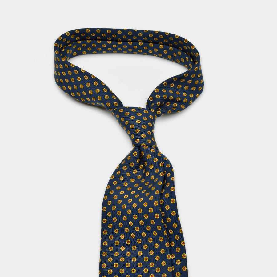 Knotted navy floral tie
