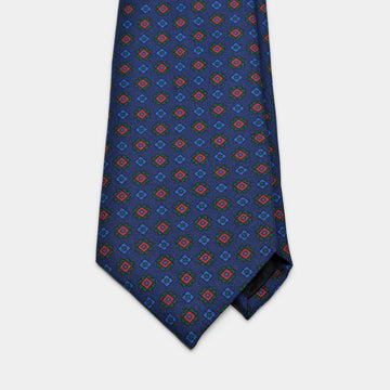 Navy Foulard Ancient Madder Tie