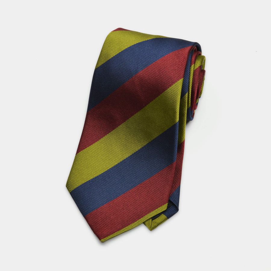 Navy, Red, & Green Awning Stripe Woven Silk Tie