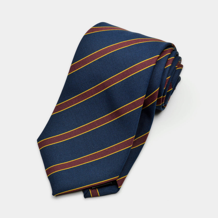 Navy & Maroon Stripe Irish Poplin Tie