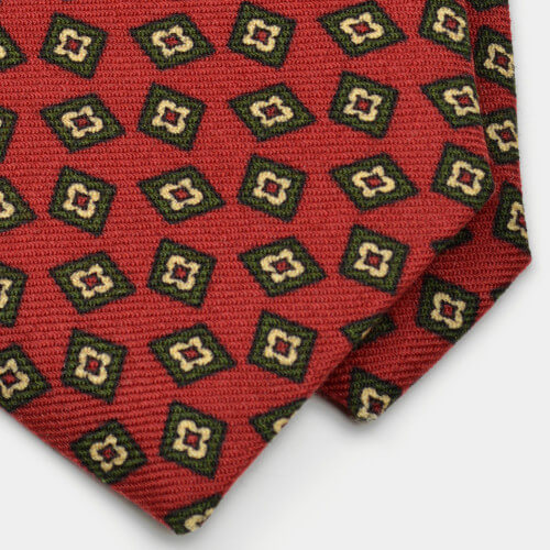 Red Diamond Foulard Wool Challis Tie