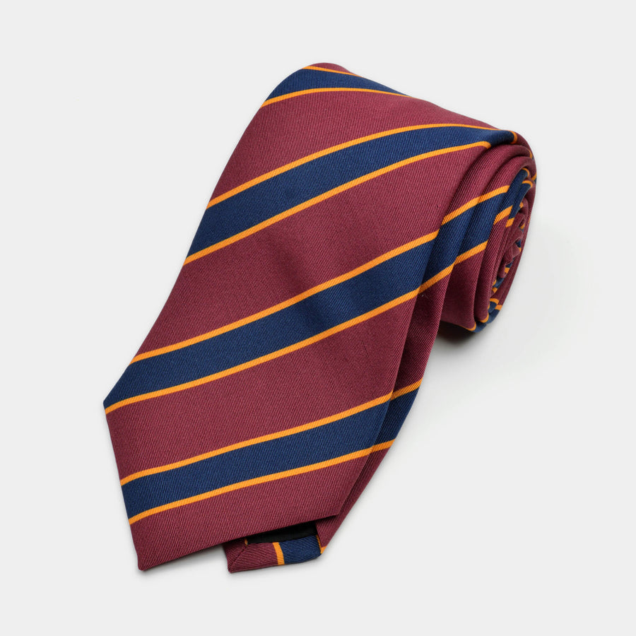 Red & Navy Stripe Irish Poplin Tie