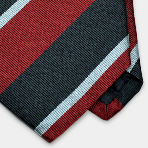 Red & Black Repp Stripe Woven Silk Tie
