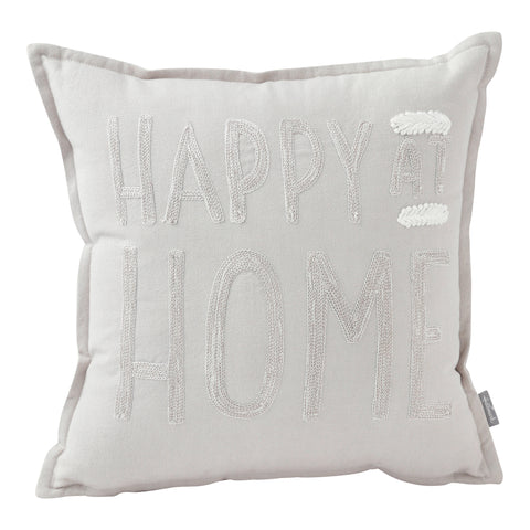 """Happy at Home"" Braided Words Pillow (14x14)"