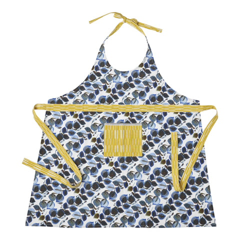 Hallmark Home Cotton Apron with Pocket, Blue/Brown Full Length Leaf Pattern with Golden Yellow Ties