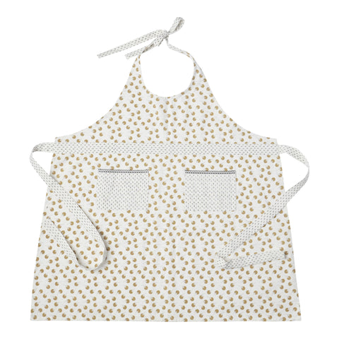 Hallmark Home Cotton Apron with Two Pockets, Cream Full Length Berry Pattern