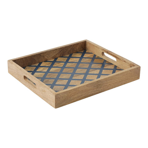 Wooden Tray with Navy Lattice Design