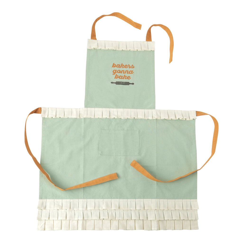 "Hallmark Home Cotton Apron with Pocket, Mint ""Bakers Gonna Bake"" Full Length with Orange Accents and Cream Box Pleat Ruffles"