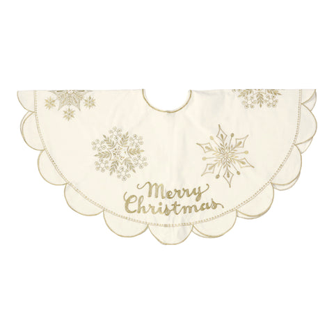 "Gold Embroidered ""Merry Christmas"" Tree Skirt"
