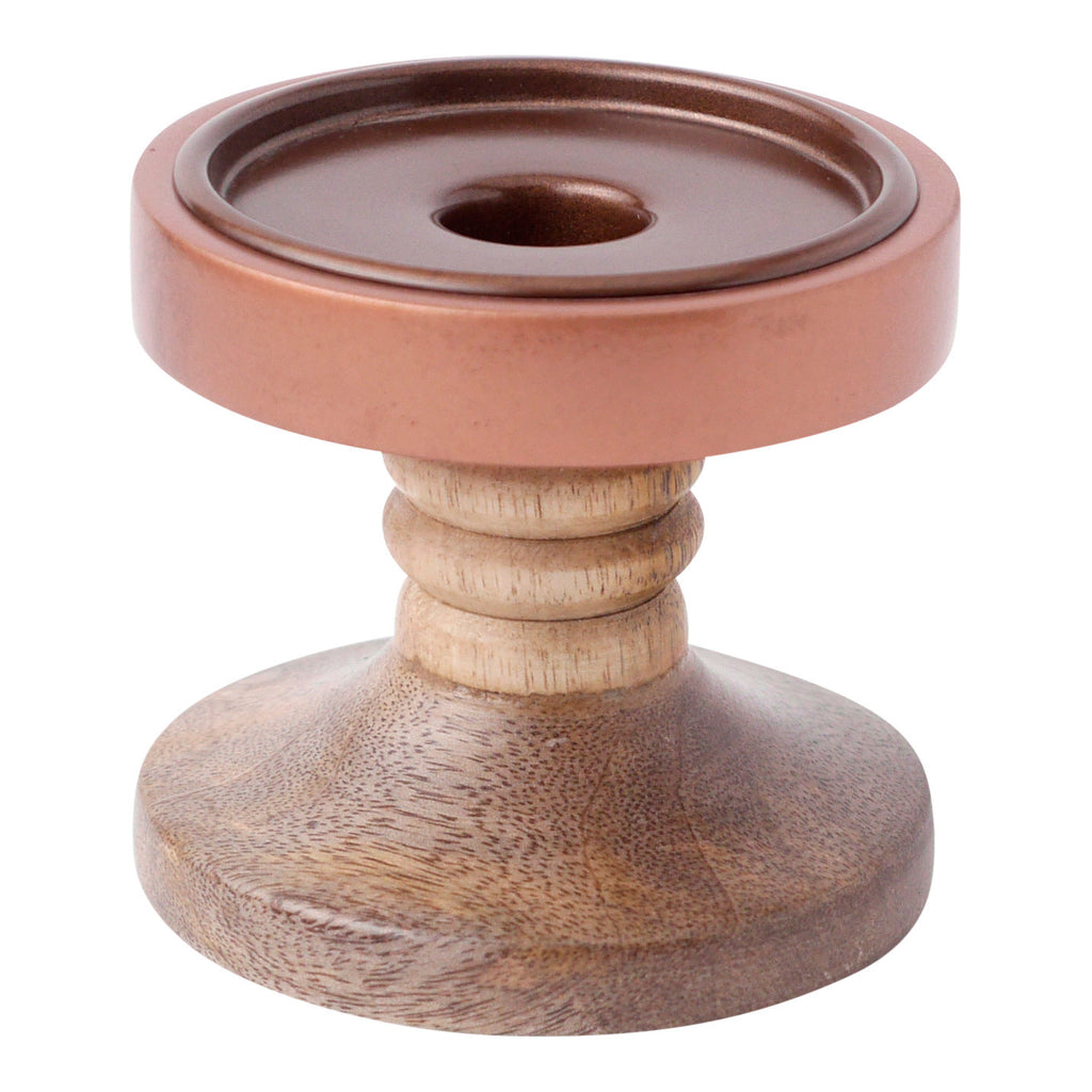 Wood & Copper Candle Holder, Small