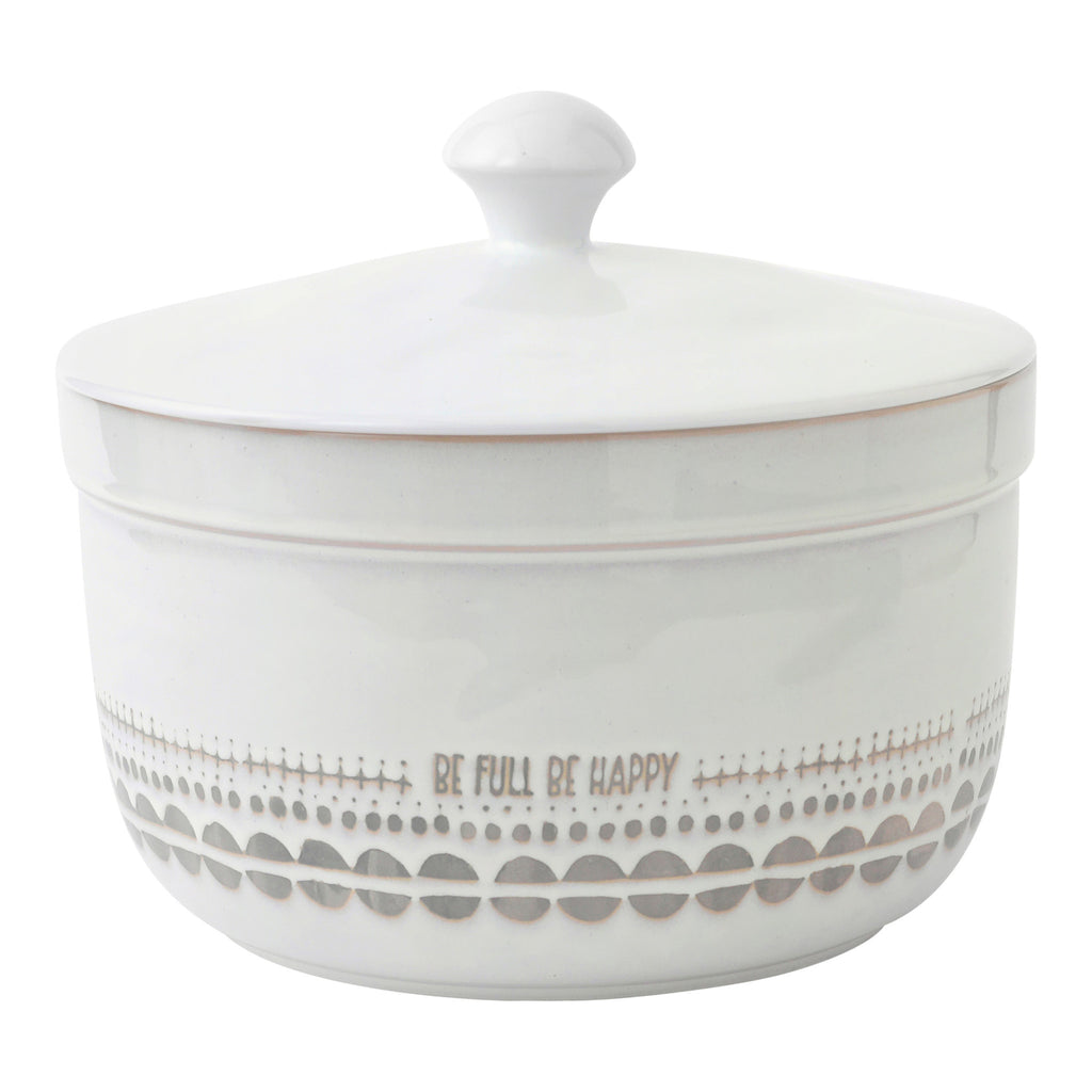 "Hallmark Home Coordinating Glazed Stoneware, ""Be Full Be Happy"" White Large (5 quart) Serving Bowl with Lid"