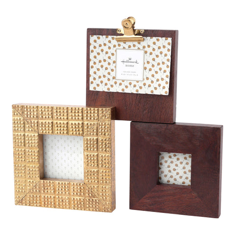 Hallmark Home Wood and Gold Accent 3-Opening Picture Frame with Clip