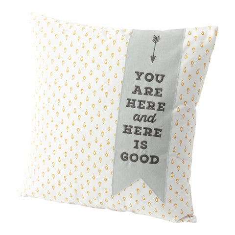 "Hallmark Home Decorative Throw Pillow with Insert (20x20) Large Golden Print with Blue Banner ""You Are Here and Here Is Good"""