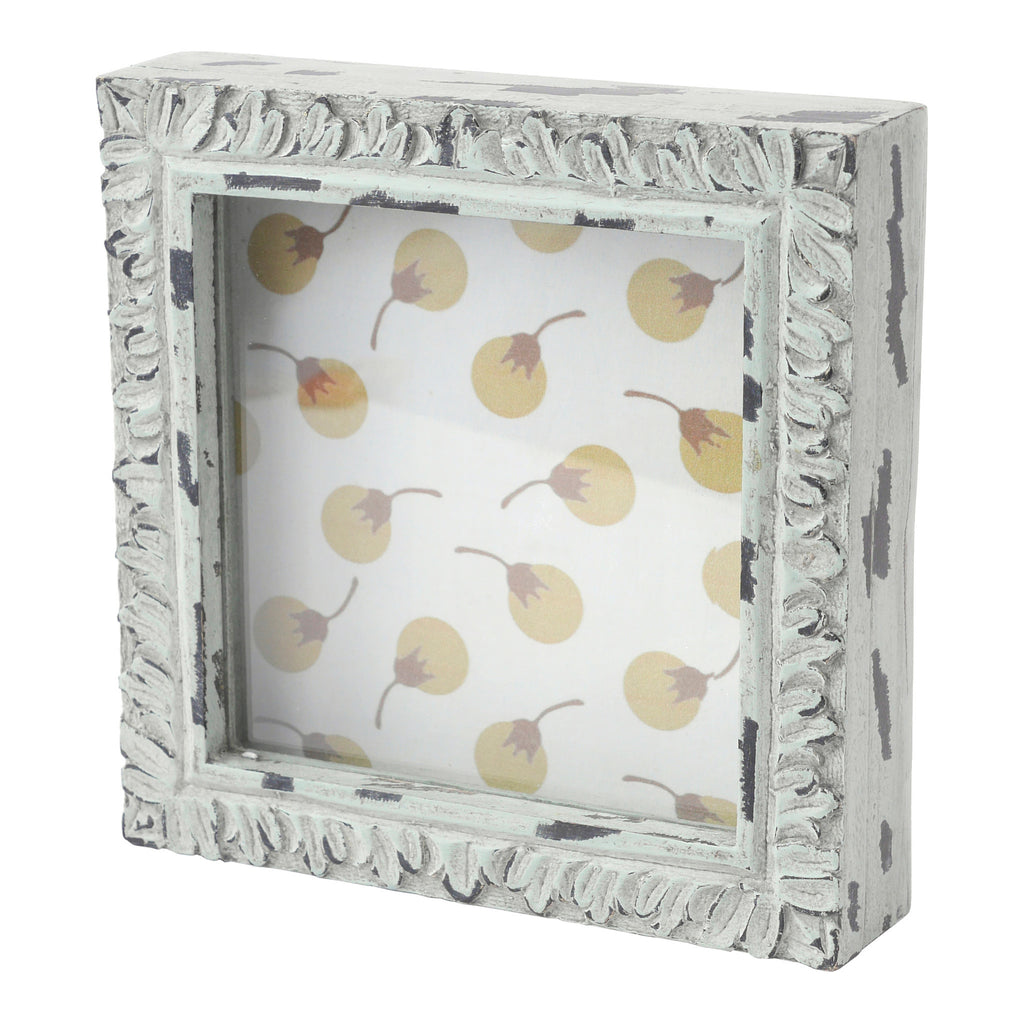 Hallmark Home Unique Shadow Box with Glass Front and Magnetic Closure, Mint Square with Berry Pattern Backer