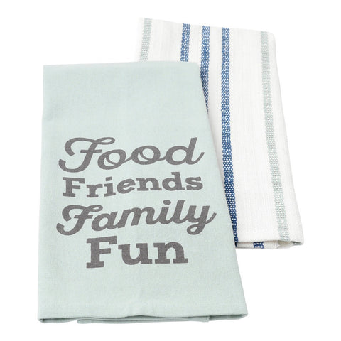 Food, Friends, Family, Fun Tea Towel Set Tea Towel by Hallmark Home & Gifts