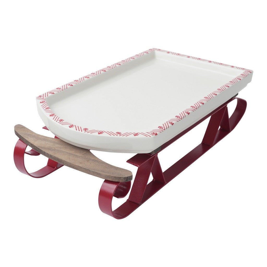 Ceramic and Metal Sleigh Serving Dish Platter by Hallmark Home & Gifts