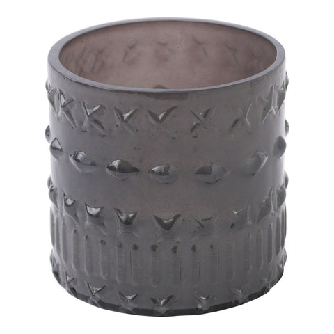 Gray Crosses Glass Votive Holder Candle Holder by Hallmark Home & Gifts