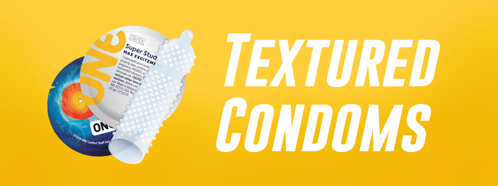The text Textured Condoms is next to a ONE Super Studs studded condom and wrapper.