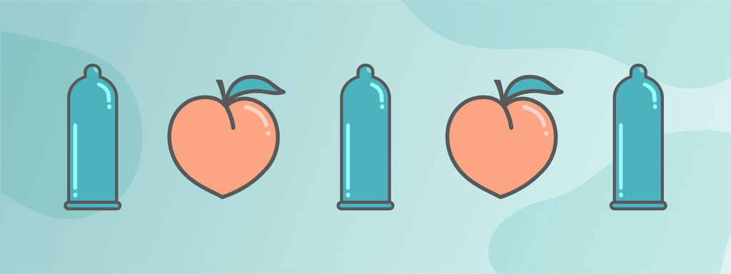 A condom and a peach alternating in a step and repeat design.
