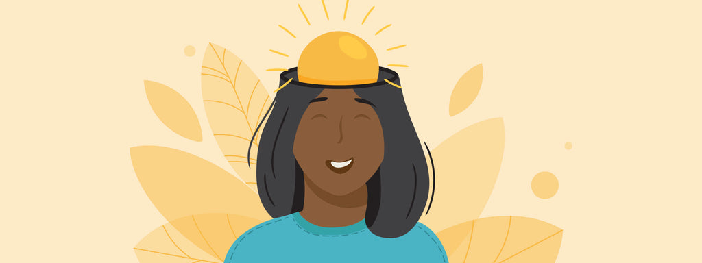 A woman smiling with the sun extending from her brain, conveying her happiness.