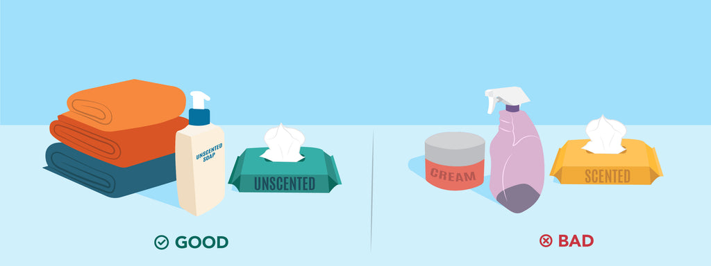 """The text """"good"""" is displayed under clean towels, unscented soap, and unscented wipes. The text """"bad"""" appears next to cream, a spray bottle, and scented wipes."""