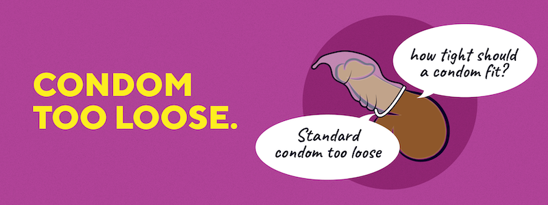 """A cartoon penis with the text """"Condom Too Loose"""". The condom is slipping off the penis. The penis has two text bubbles, saying """"Standard condom too loose"""" and """"how tight should a condom fit?"""""""