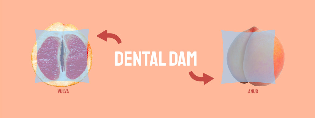 """A dental dam is shown on a grapefruit, which represents a vulva. Another dental dam is shown on a peach, representing an anus. The text, """"Dental Dam"""" is in the center of the image, and the text vulva is beneath the grapefruit while the text anus is beneath the peach."""