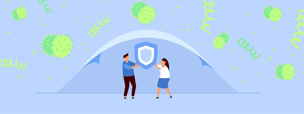 Two people holding up a shield with various pathogens floating in the air. This image symbolizes that using a dental dam is a form of practicing safer sex.
