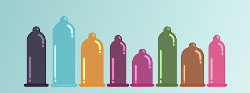 Eight condoms that are all different sizes