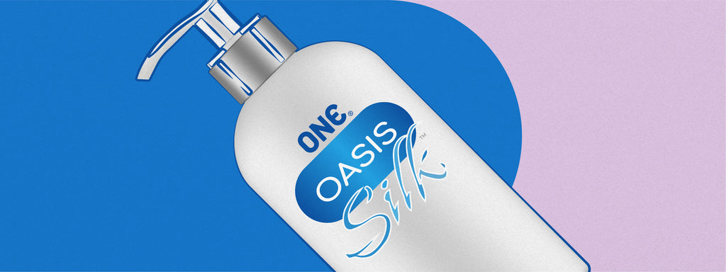 A bottle of ONE Oasis Silk lubricant, which can be used for vaginal dryness.