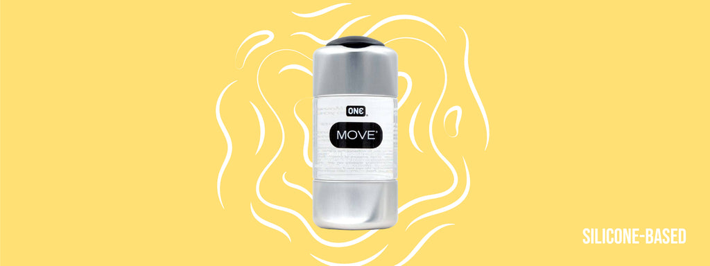 ONE Move Lubricant with the text, Silicone Based. ONE Move Lubricant is a silicone based lubricant.