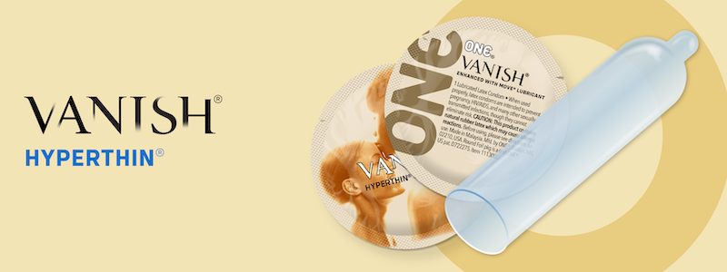 The text ONE® Vanish Hyperthin Condom with an image of the thin condom and its wrapper.