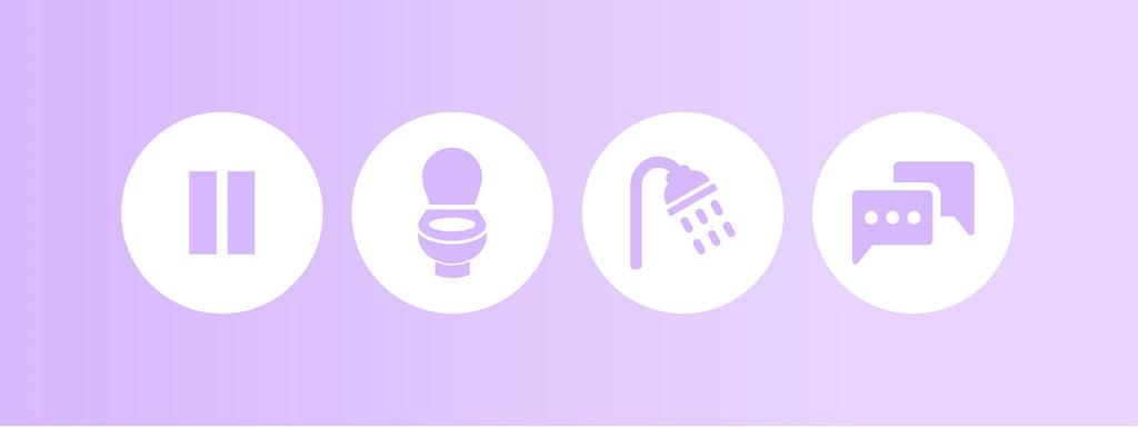 Four icons indicating to pause, then use the bathroom, then wash up, and finally connect with a medical professional.