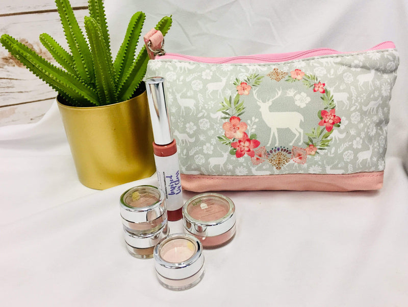 raw-beauty-llc Beauty & Health - Tools & Accessories Medium Sized Makeup Pouch - Pink Trim