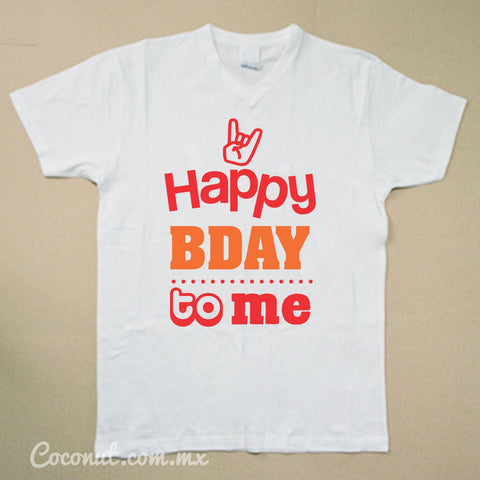 "Playera para hombre ""Happy Birthday to me"" Blanca"
