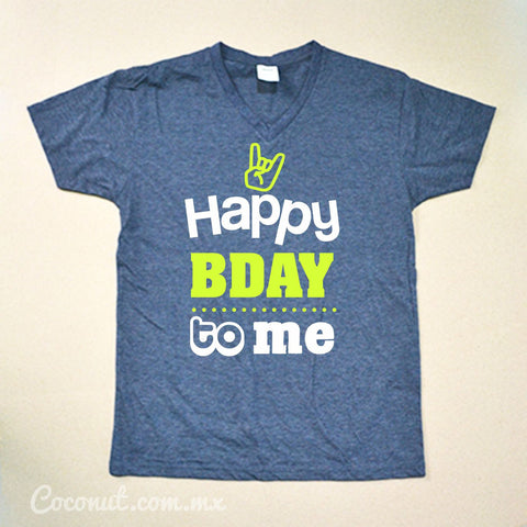 "Playera para hombre ""Happy Birthday to me"" Azul Denim"