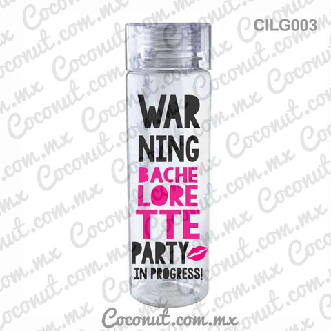 "Cilindro para fiesta ""Warning bachelorette party"""