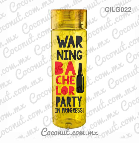 "Cilindro para fiesta ""Warning bachelor party"""