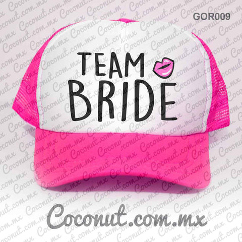 "Gorra ""Team bride"" rosa con blanco"