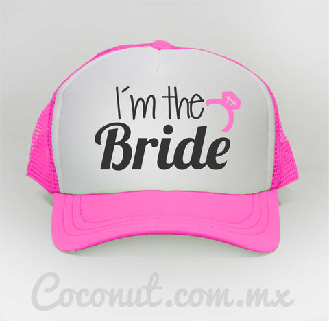 "Gorra de malla ""I´m the bride"" rosa"
