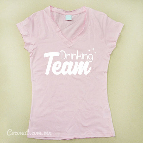 "Playera Dama ""Drinking Team"" Rosa"
