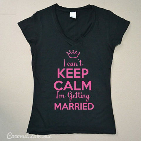 "Playera Dama ""I can´t keep calm..."" Negra con rosa"