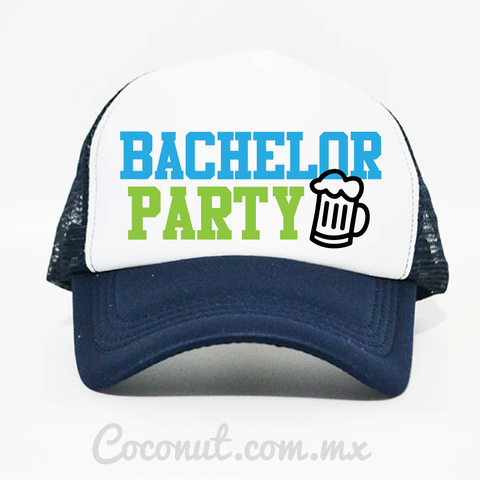 "Gorra de malla ""Bachelor Party"" azul marino"