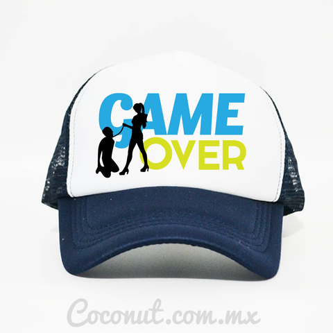 "Gorra de malla ""Game Over"" azul marino"