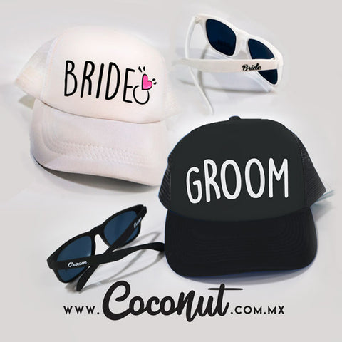 Kit Groom y Bride gorra y lentes