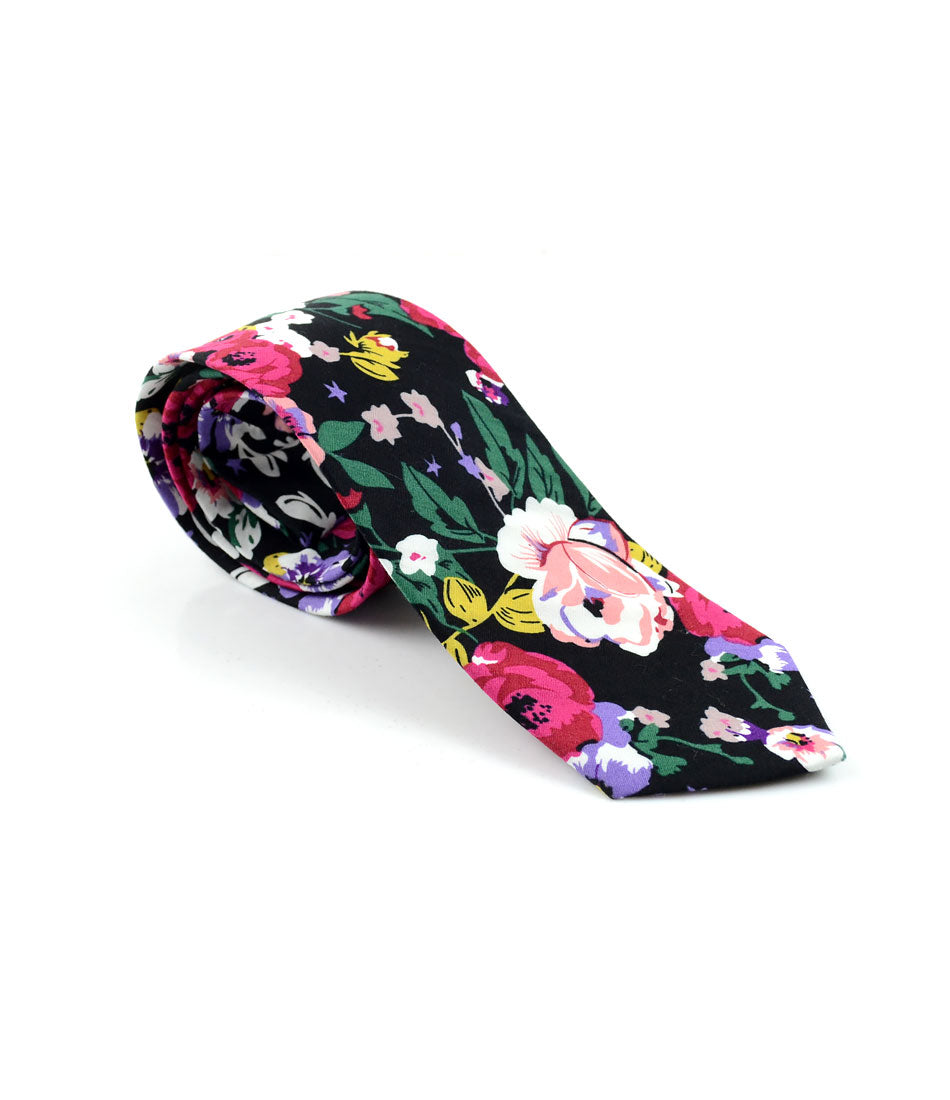 the dapper man - Onyx Black Floral Neck Tie