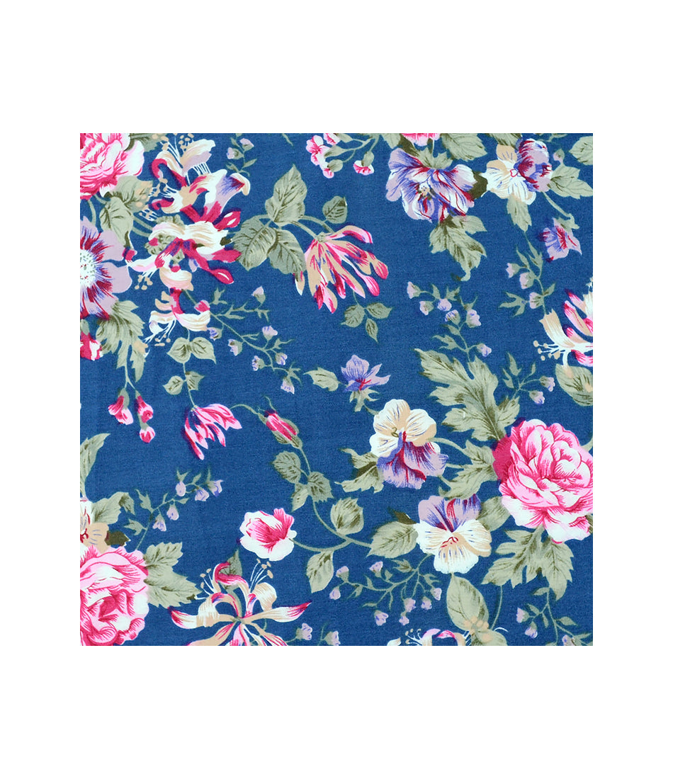 the dapper man - Denim Blue Floral Pocket Square