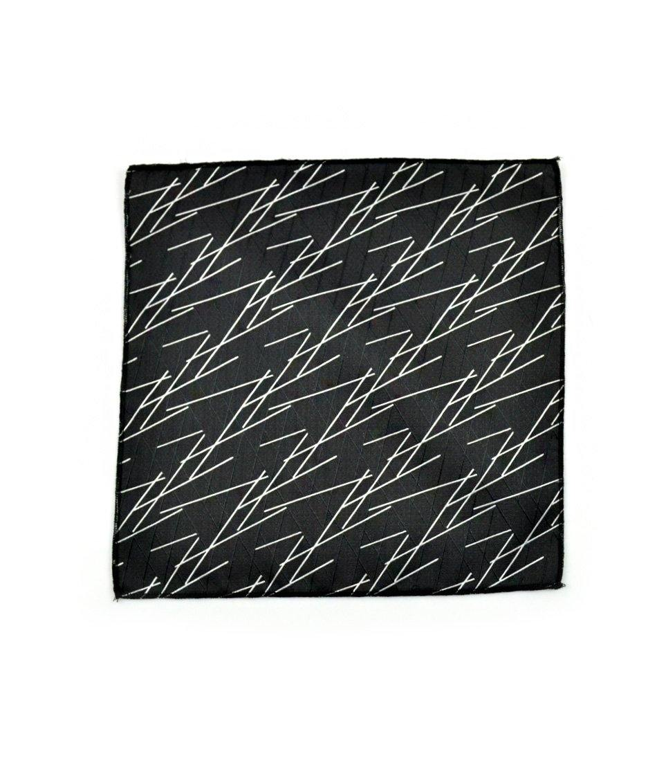 the dapper man - Black & Silver Geometrical Pocket Square